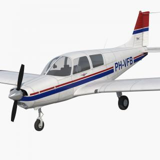 Private Aircraft Piper PA-28 Cherokee Rigged 3D model