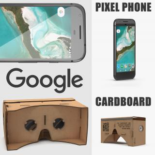 Google Cardboard VR Headset and Pixel Phone Collection 3D model