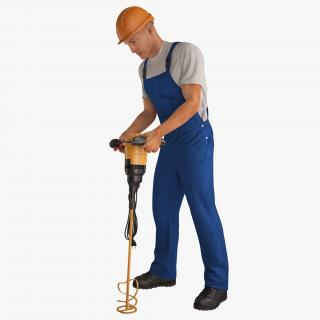 3D Construction Worker with Hand Held Concrete Paddle Mixer Rigged model