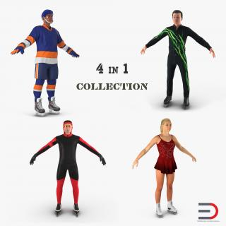 Winter Sport Characters Collection 3D model