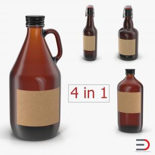 3D Cold Brew Bottles Collection model