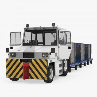 Airport Tug Hallam HE50 and Luggage Rigged 3D