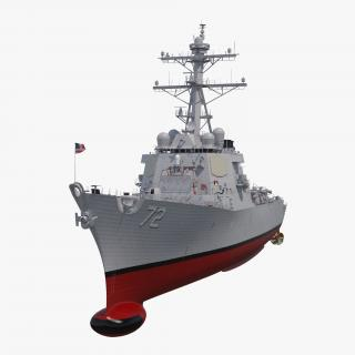 3D Arleigh Burke Destroyer Mahan DDG-72 Rigged model