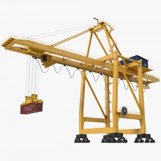 3D Quayside Container Crane with Container Rigged