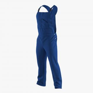 Blue Workwear Overalls 3D