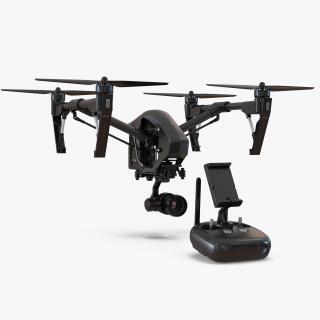DJI Inspire 1 Quadcopter Black Edition Rigged Set 3D model