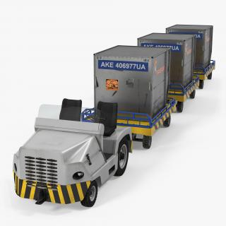 Airport Tug Clark CT30 Carrying Passengers Luggage Rigged 3D