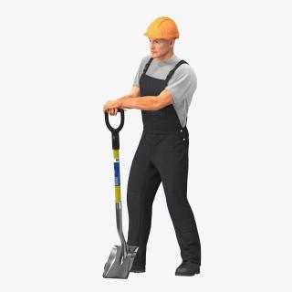 Construction Worker Stand with Shovel 3D