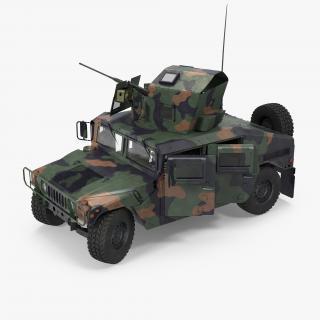 3D model Humvee M1151 Enhanced Armament Carrier Rigged Camo