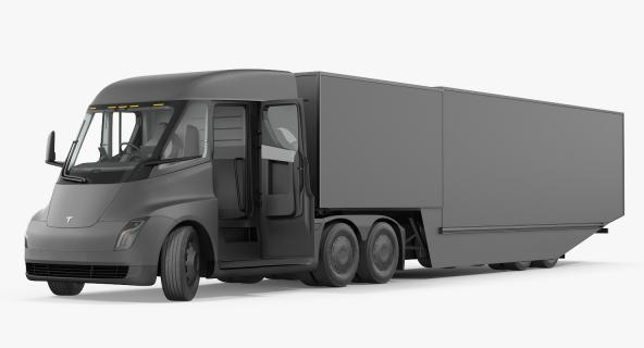 3D model Electric Semi Truck Tesla with Trailer Rigged