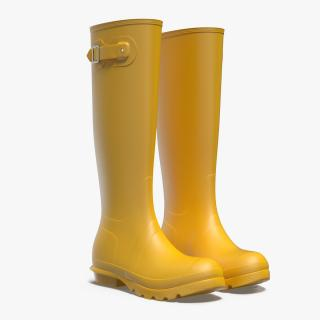 Womens Yellow Tall Refined Rain Boots 3D