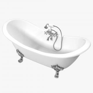 3D Double Slipper Clawfoot Bath model