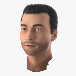 3D Mediterranean Male Head with Hair model