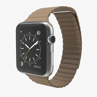 Apple Watch Brown Leather Magnetic Closure 2 3D model