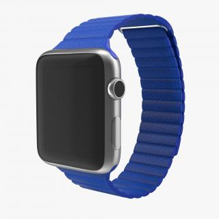3D Apple Watch Blue Leather Magnetic Closure