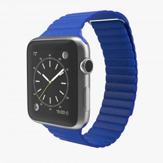 3D Apple Watch Blue Leather Magnetic Closure 2 model