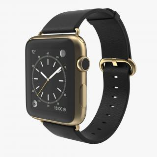 Apple Watch Classic Buckle Black Leather 2 3D