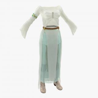 3D Female Medieval Clothes model