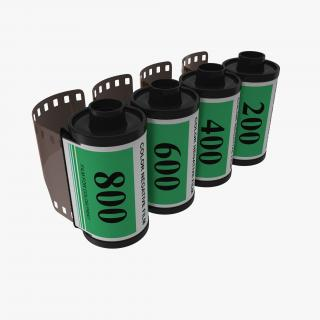 35mm Film Roll Green Set 3D model