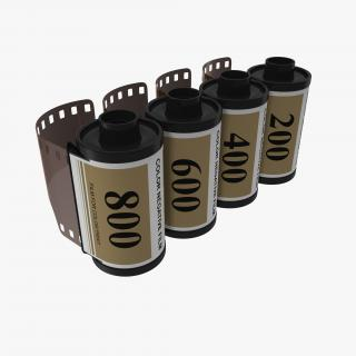 3D Film Roll 35mm Gold 3D Models Set model