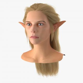 3D model Female Elf Head with Hair