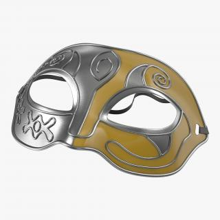 Masquerade Mask Yellow 3D
