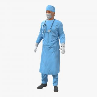 3D Male Surgeon Mediterranean Rigged model