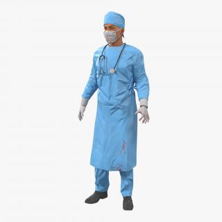 3D model Male Surgeon Mediterranean Rigged 3