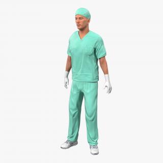 3D Male Surgeon Caucasian Rigged 2