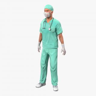 3D model Male Surgeon Caucasian Rigged with Blood