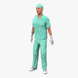 Male Surgeon Caucasian Rigged 2 with Blood 3D