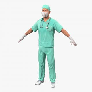 3D Male Surgeon Caucasian with Blood model