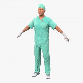 3D model Male Surgeon Caucasian with Blood 2