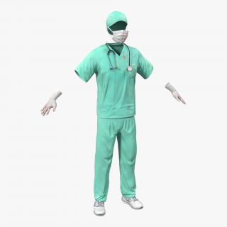 Surgeon Dress 17 with Blood 3D