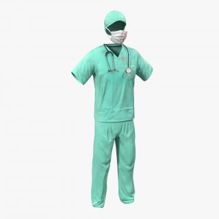 Surgeon Dress 18 with Blood 3D
