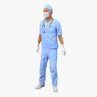 3D model Male Surgeon Asian Rigged