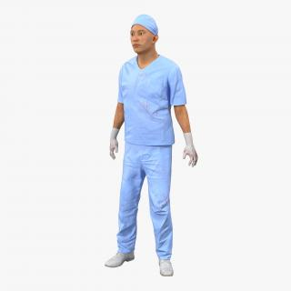 Male Surgeon Asian Rigged Uniform with Blood 3D model
