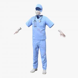 Surgeon Dress 13 with Blood 3D