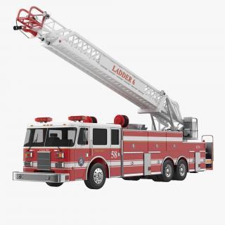 Ladder Fire Truck Rigged 3D model