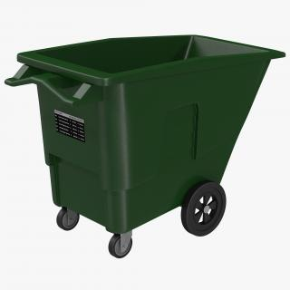 3D Large Rolling Garbage Can Green