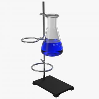 Ring Stand and 50 ml Erlenmeyer Flask 3D