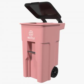 3D Rollout Recycling Container Red