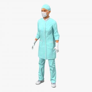 3D model Female Surgeon Mediterranean Rigged