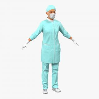 3D Female Surgeon Mediterranean model