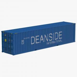 3D model 40 ft High Cube Container Blue