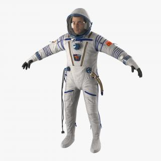 3D Russian Astronaut Wearing Space Suit Sokol KV2