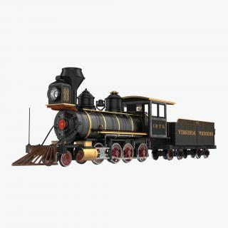 Steam Train with Wagon 3 3D model