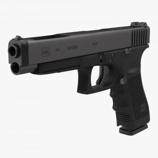 3D Competition Pistol Glock 34 Black model