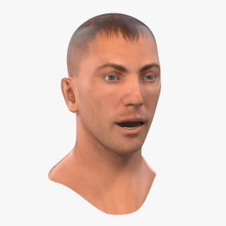 3D Caucasian Male Head Rigged