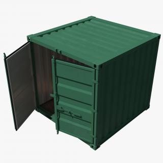 3D 8 ft Storage Container Green model